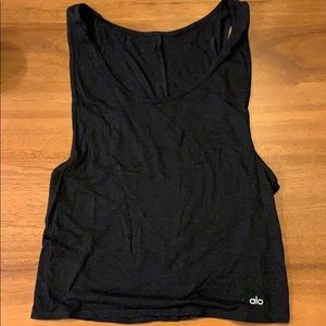 Black alo tank large side cut outs